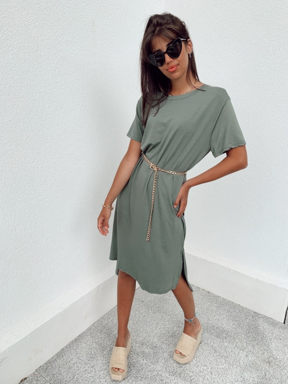 Robe longue t-shirt CHILL kaki