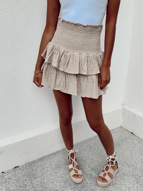 Beige DONATA ruffled skirt
