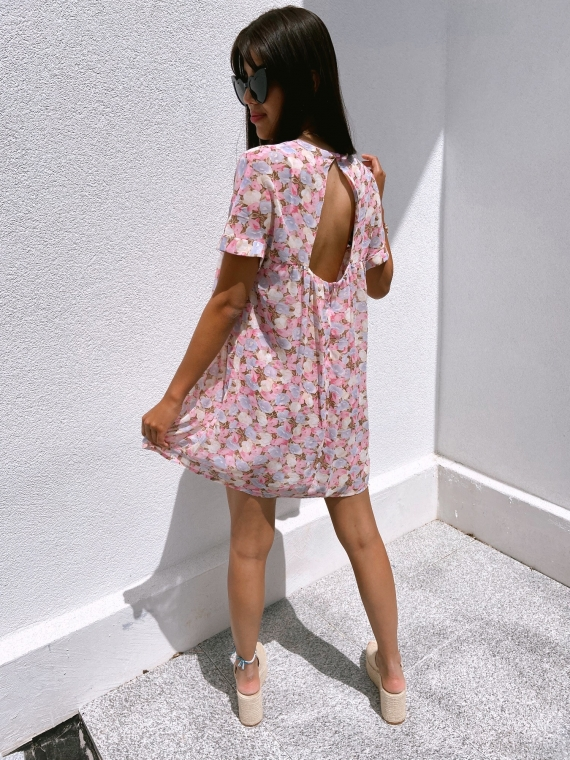 Combi-short fleurie BRISBANE rose