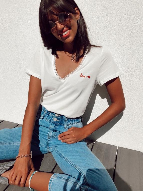 T-shirt LOVE blanc
