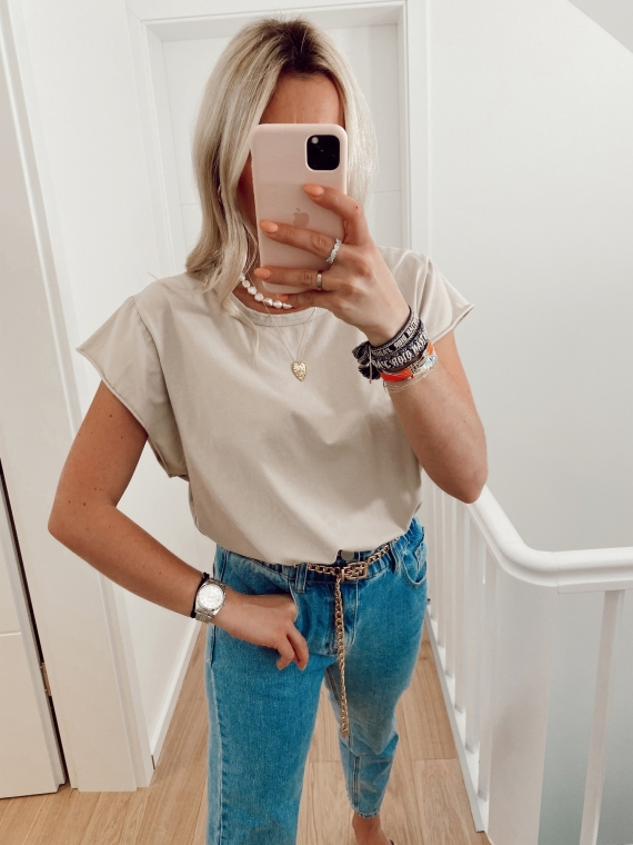 Beige GLANCE basic t-shirt