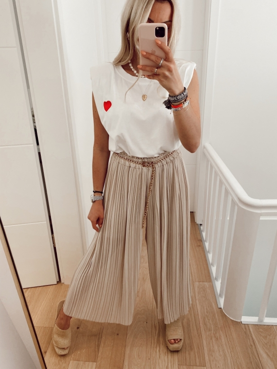 Pantalon plissé YOUNG beige