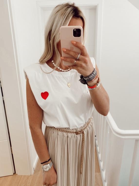 T-shirt à épaulettes COEUR blanc
