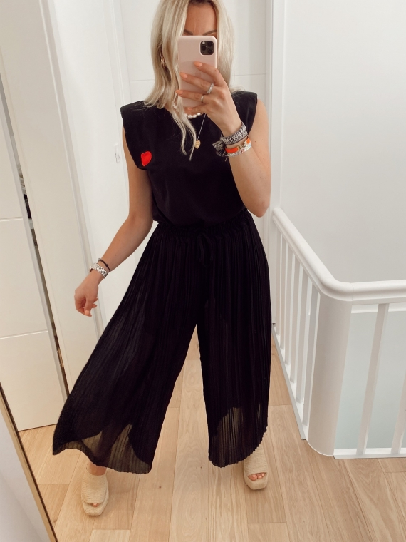Pantalon plissé YOUNG noir