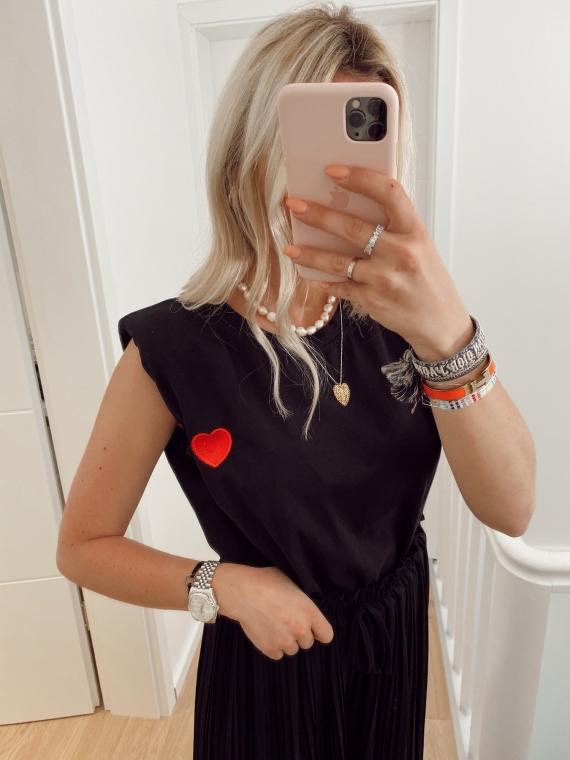 T-shirt à épaulettes COEUR noir
