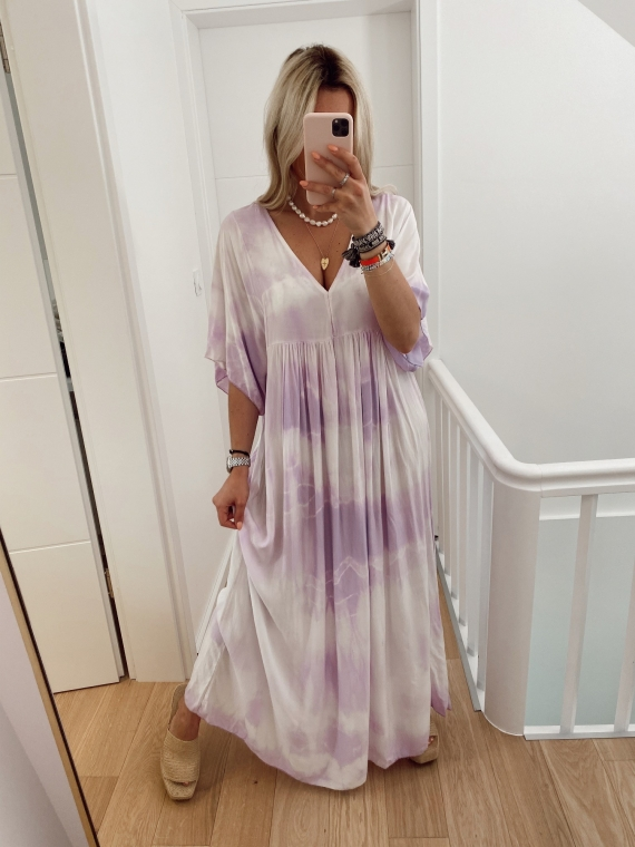 Robe longue tie and die AGAIN lilas