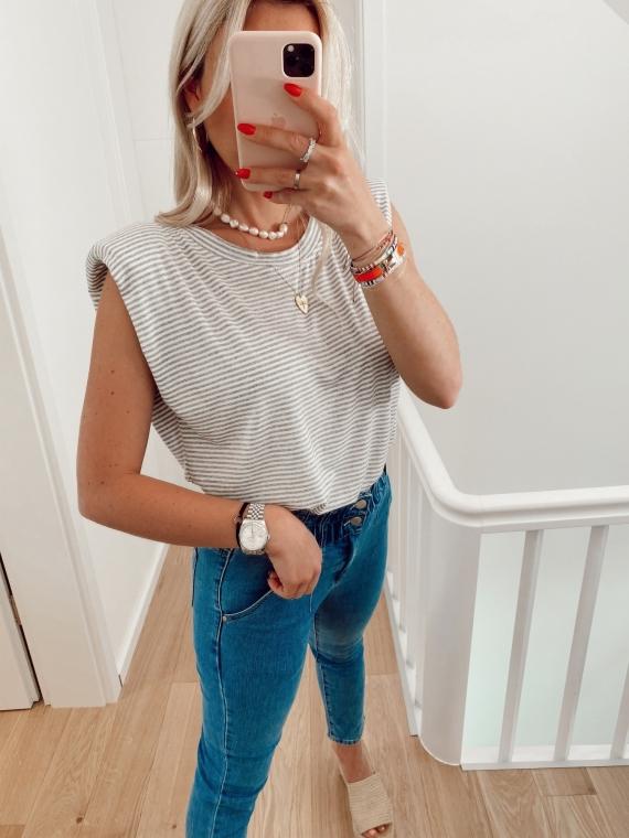 T-shirt à épaulettes GIRL rayé gris