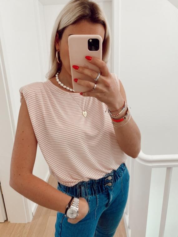 T-shirt à épaulettes GIRL rayé rose
