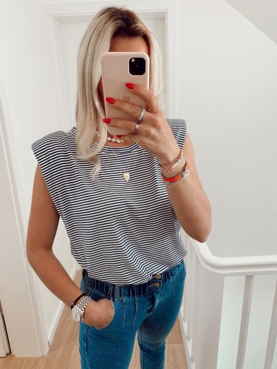 T-shirt à épaulettes GIRL rayé bleu marine