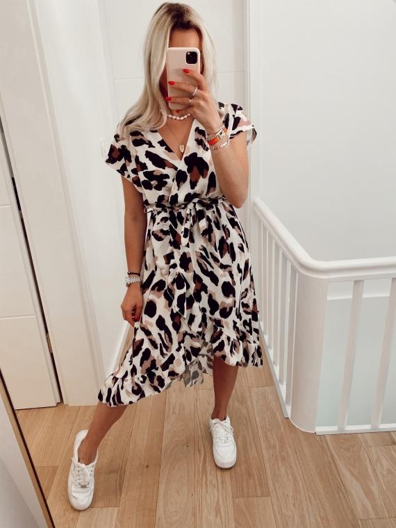 Robe longue imprimée léopard LELE blanche