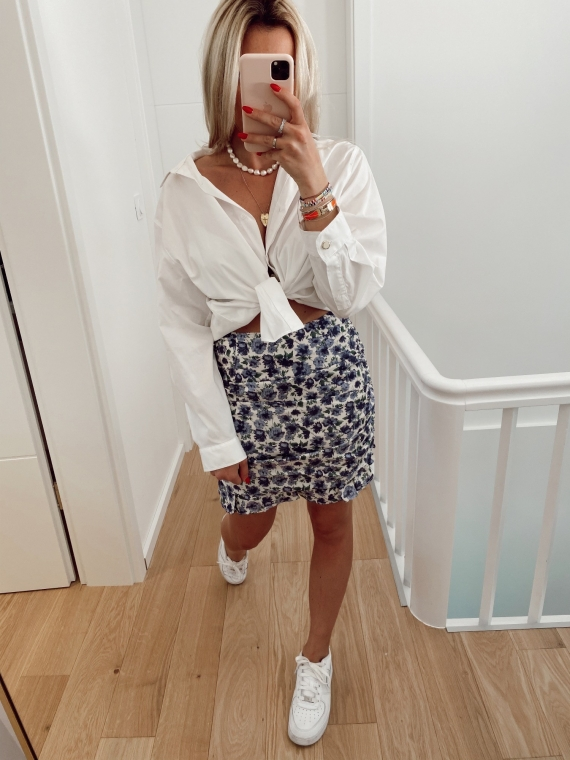 Blue DULCE floral skirt