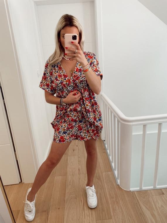 Combi-short fleurie JANISSE blanche
