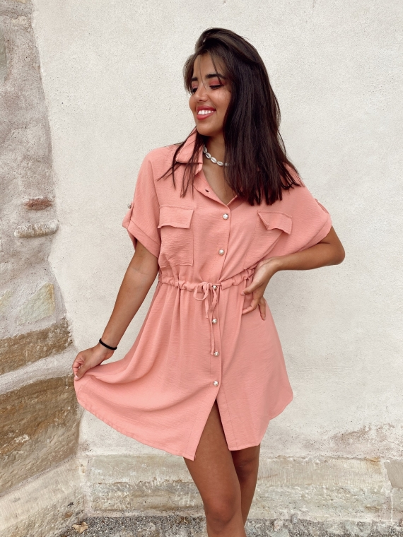 Pink MARTIE fluid shirt dress