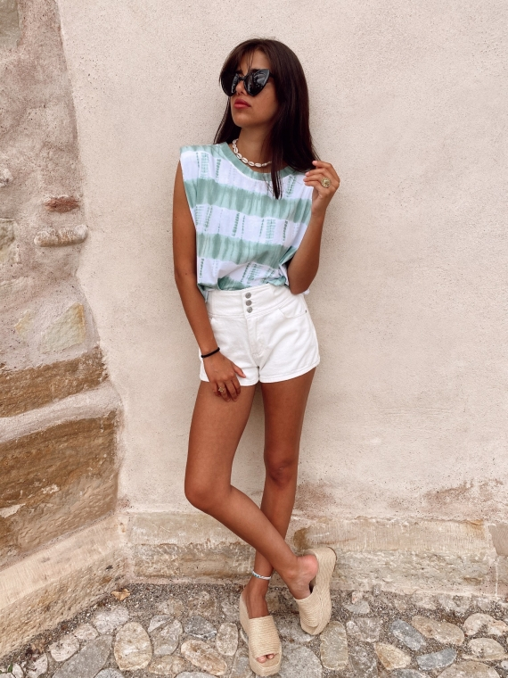 White VIDA denim shorts