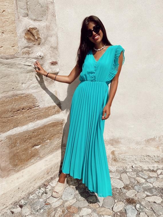Robe longue plissée SUNSET turquoise