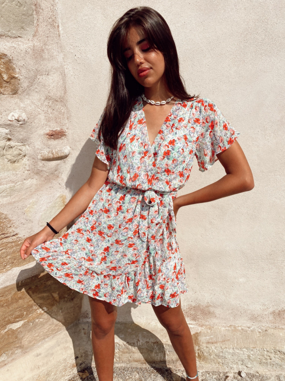 Robe fleurie coupe portefeuille FREEDOM blanche