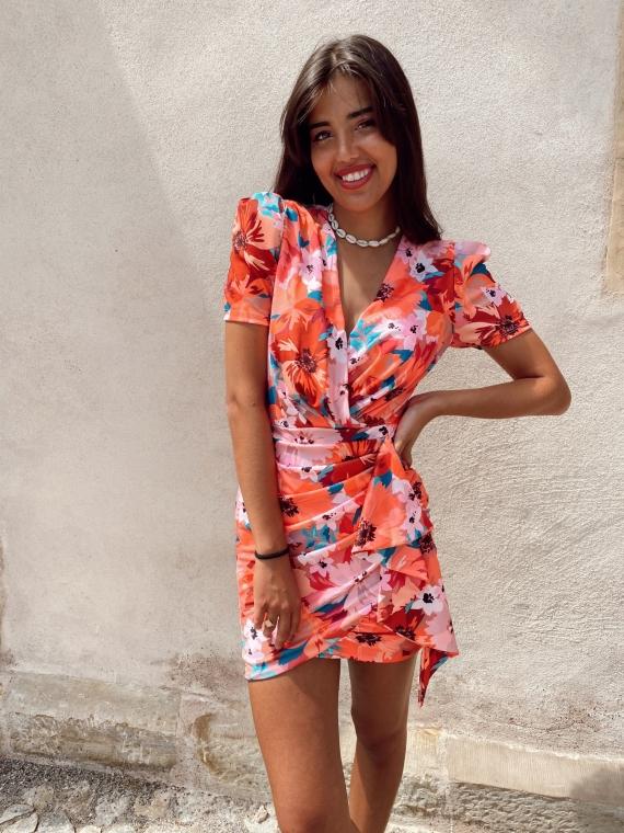 Robe drapée fleurie SIDO orange