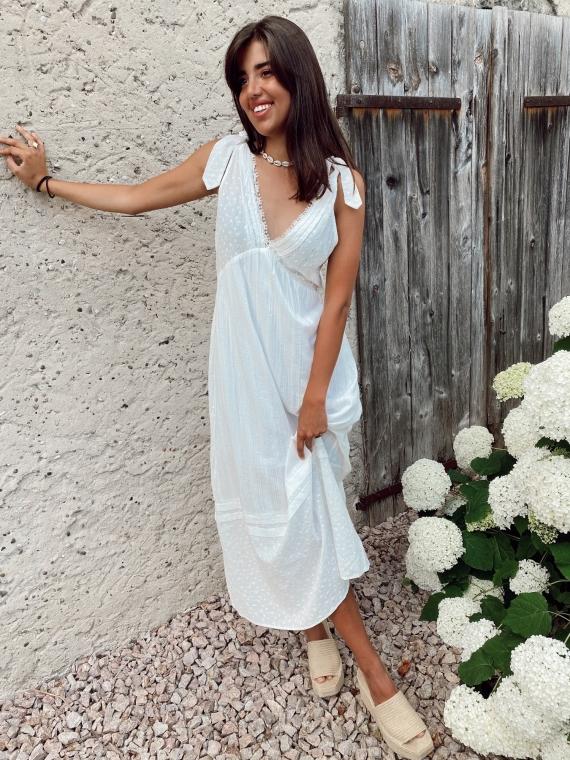 Robe longue ajourée MANZIA blanche