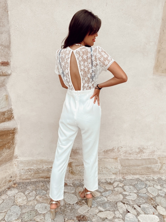 White ANGELA lace jumpsuit
