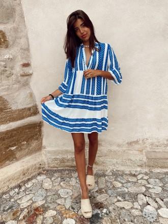 Robe aztèque JOKE bleu électrique