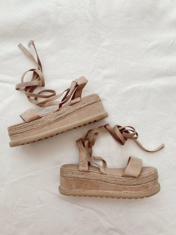 Sandales plates compensées ESCALE beige