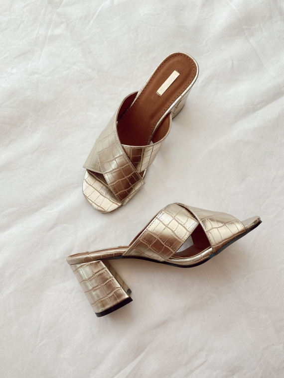 Gold NEO crossover open-toed sandals