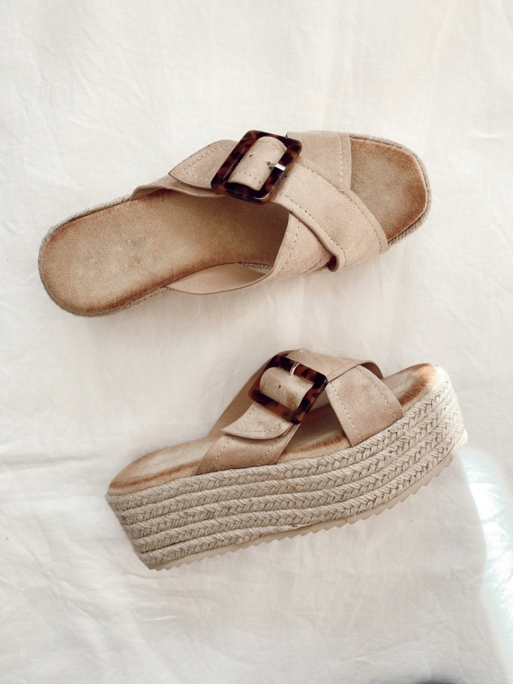 Platform sandals and crossover buckle