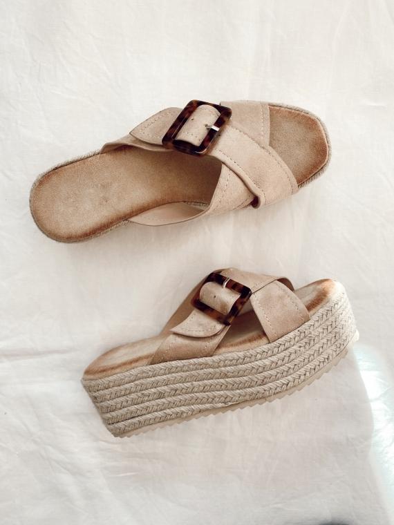 Sandales compensées et boucle CROISETTE