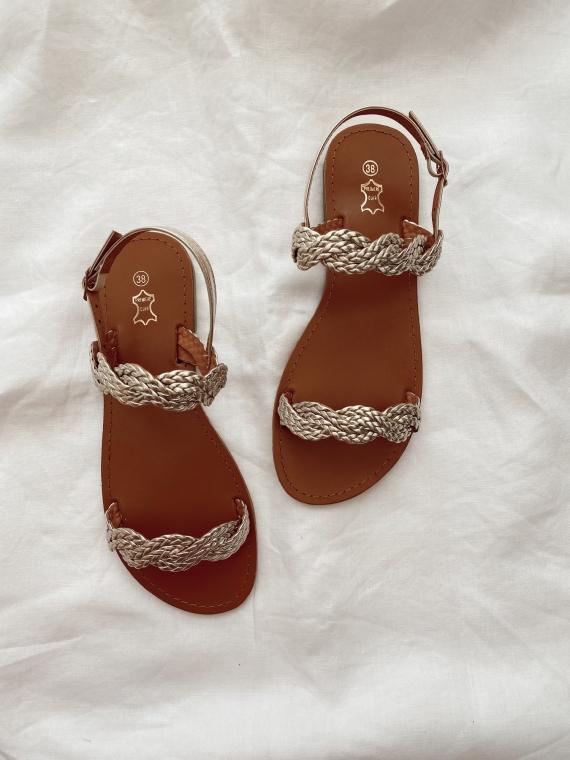 Sandales tressées plates DAUPHINE dorées