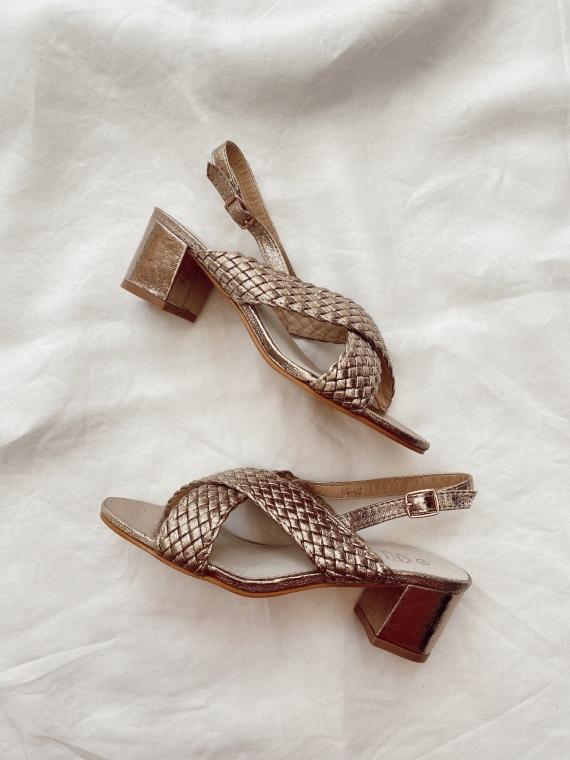 Sandales à talon croisées ALMA dorées