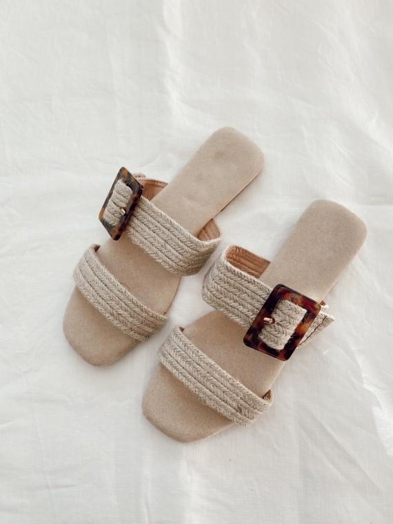 Sandales plates boucle écaille CLUNY beiges