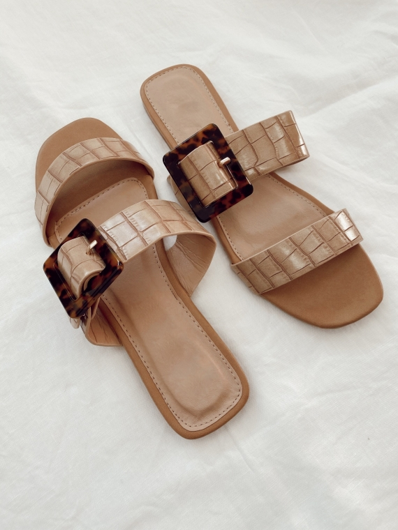 Camel CLUNY scale buckle flat sandals""