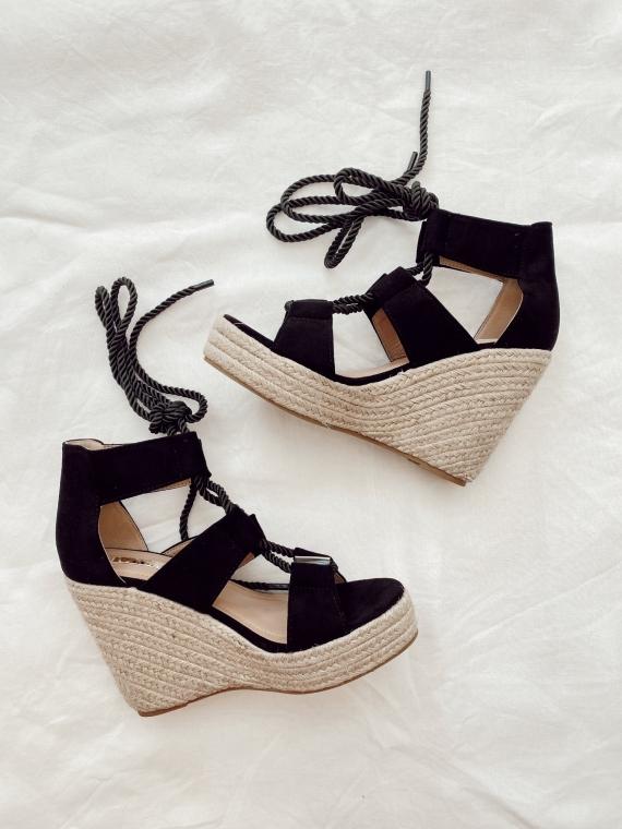 Sandales à talons compensées HORIZON noires