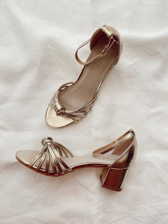 Sandales à talon noeud TWIST dorées