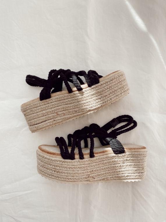Sandales compensées cordes BLISS noires
