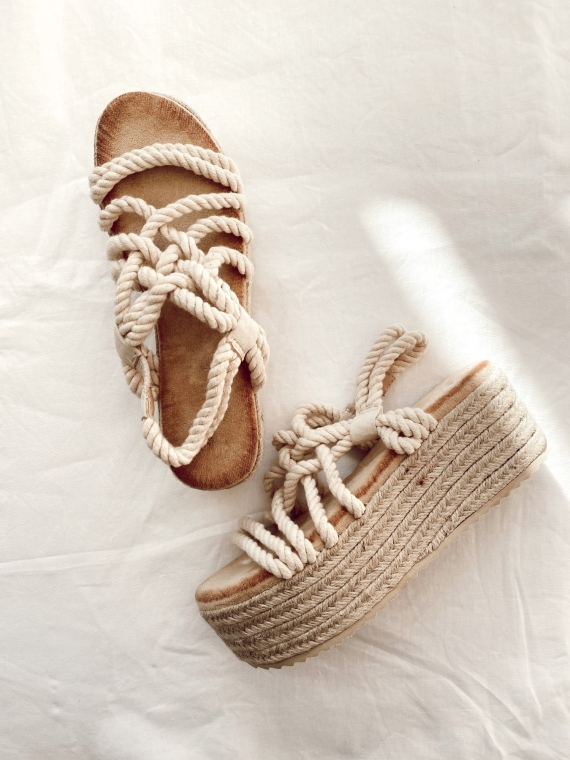 Beige BLISS rope wedge sandals