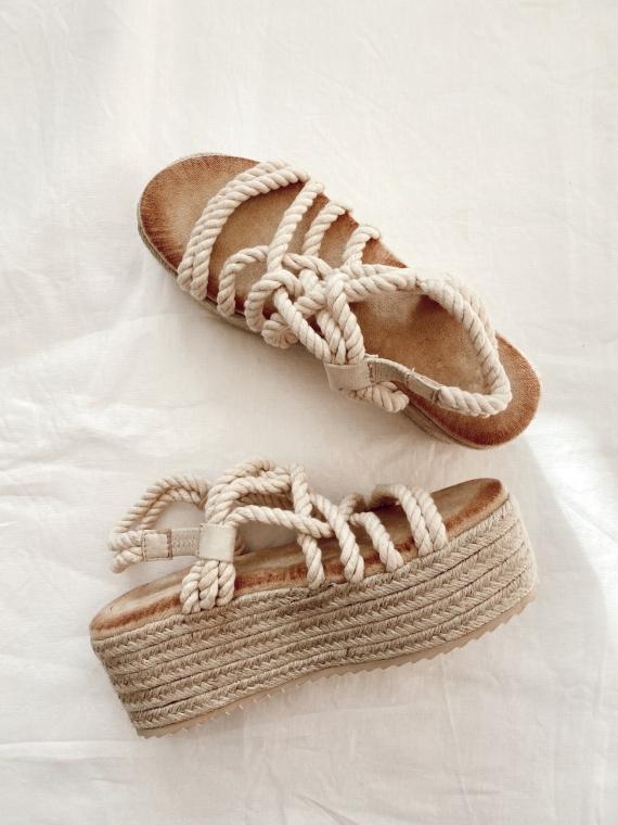 Sandales compensées cordes BLISS beiges