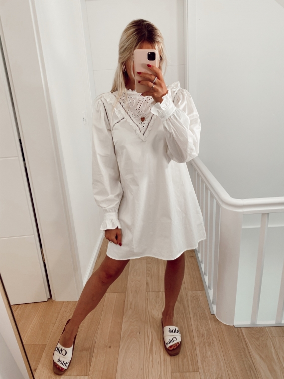 Robe chemise ajourée LUV blanche