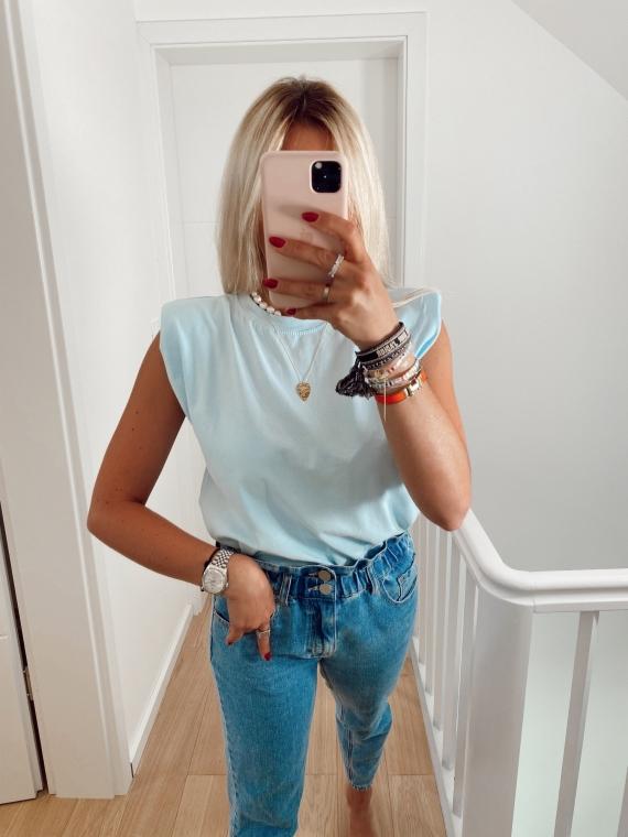 T-shirt à épaulettes ELLYN bleu ciel