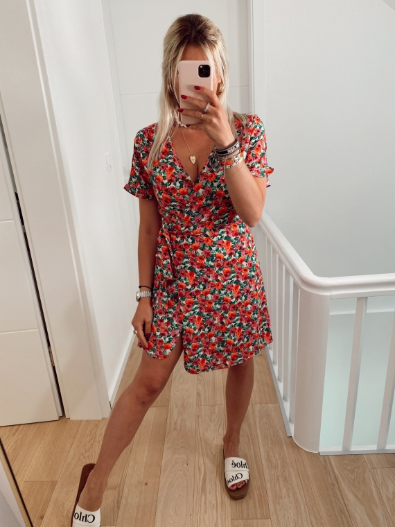 Red SHEA floral dress