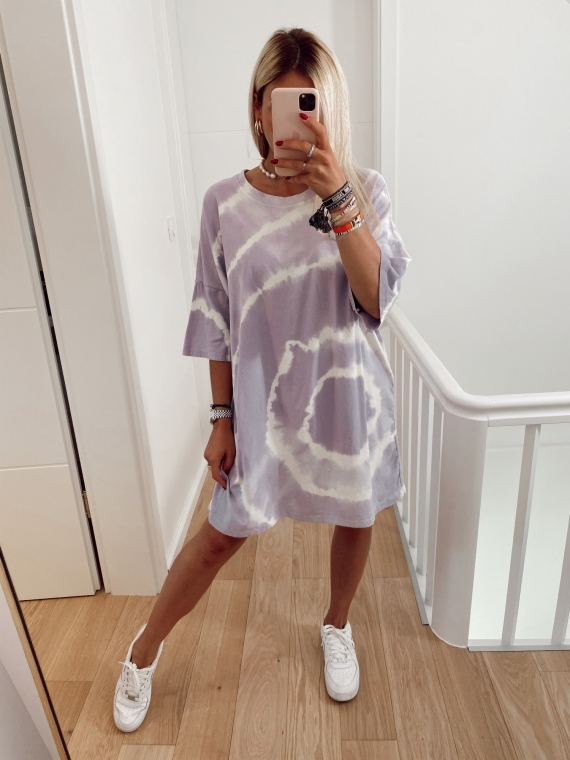 Robe t-shirt tie and dye BLOOMING lilas