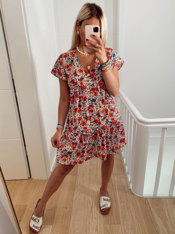 White LOOK floral dress