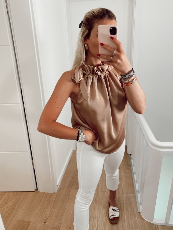 Camel MIMOSA satin knot top