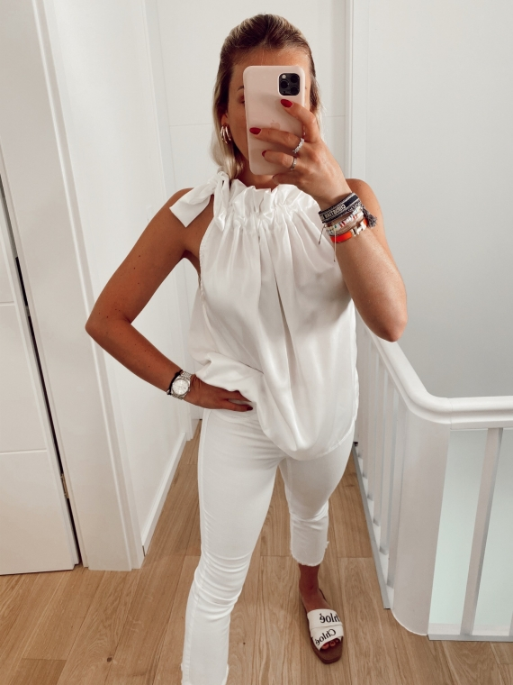 White MIMOSA satin knot top