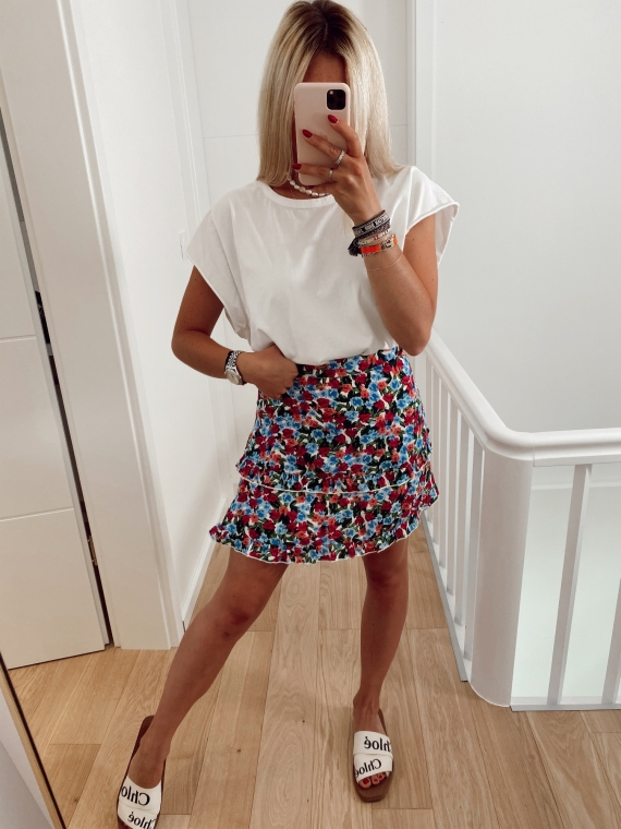 White AUGUST floral skirt