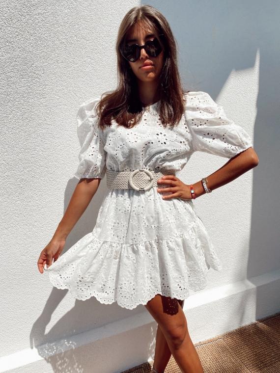 Robe ajourée PORTO blanche