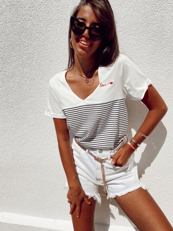 White AKILA sailor T-shirt