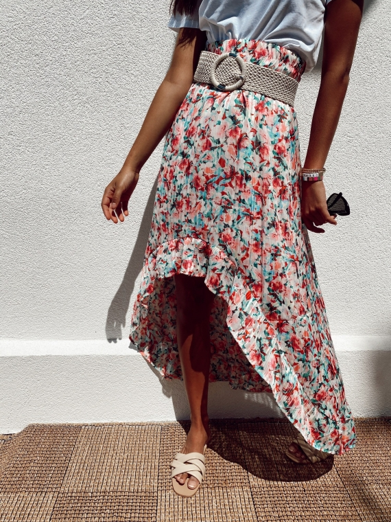 White WALLY floral asymmetrical skirt
