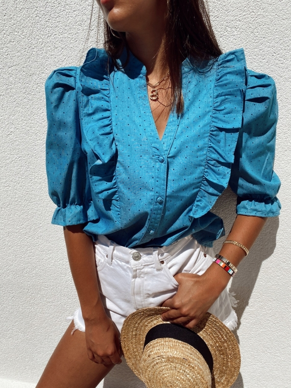 Denim TODAY blouse with polka dots