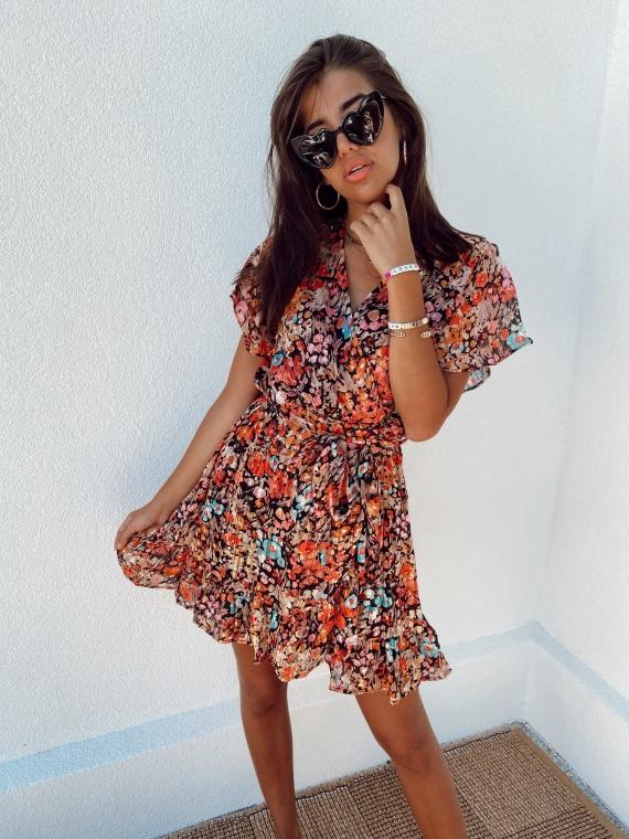 Orange ZELDA floral wrap dress